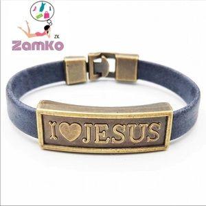 Jewelry - Handmade Leather cross bracelet